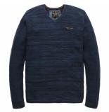 PME Legend V-neck cotton mouline salute blauw