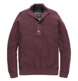 PME Legend Half button collar cotton melange chocolate truffl rood