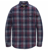 PME Legend Long sleeve shirt cord check mart chocolate truffl rood