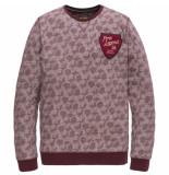 PME Legend Long sleeve r-neck jacquard jersey chocolate truff rood