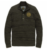 PME Legend Half button collar cotton ghibli deep depths groen