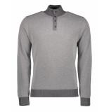 Hackett Trui micro jacquard half button sweater grijs