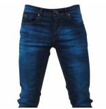 Bravo Jeans Heren jeans blue wash slim fit stretch lengte 32 blauw