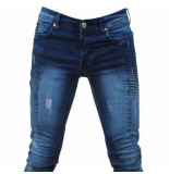 Bravo Jeans Heren jeans damaged look blue wash slim fit stretch lengte 32 blauw
