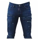 Cobbelti Heren jeans paint splash damaged look lengte 34 stretch blauw