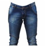 Cobbelti Heren jeans met lederen details ritsketting lengte 34 stretch blauw