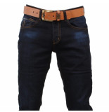 Cobbelti Heren jeans met gratis riem blue wash slim fit stretch lengte 36 dark blue blauw