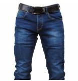 Cobbelti Heren jeans met gratis riem white wash slim fit stretch lengte 36 denim blauw