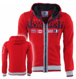 Geographical Norway Heren vest capuchon sweat gunit rood