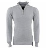 Indicode Heren trui met hoge kraag grof gebreid raphael grijs