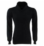 Indicode Heren trui met hoge kraag grof gebreid cora zwart grijs