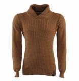 Indicode Heren trui met hoge kraag grof gebreid cora bruin