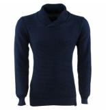 Indicode Heren trui met hoge kraag grof gebreid cora blauw