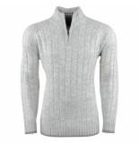 Kensington Heren trui met hoge kraag grof gebreid daniel grijs