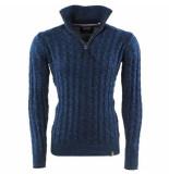 Indicode Heren trui met hoge kraag fijn gebreid rufus blauw