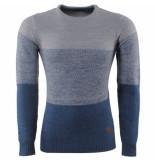 MZ72 Heren trui fijn gebreid ronde hals sito grijs blauw