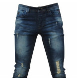 Hakkers Paris Heren jeans damaged look white wash slim fit stretch lengte 34 blauw