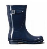 Hunter Regenlaars original short gloss navy blauw