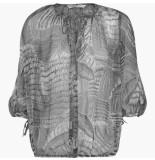 Summum 2s2211-10791 990 top long sleeve leaves print black zwart