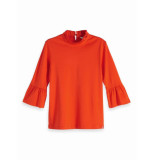 Maison Scotch 147764 0838 clean tee with special collar and sleeve sunset orange rood