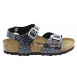 Birkenstock Rio magic snake black-silver narrow zwart