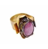 Christian Zilveren ring met kunziet geel goud
