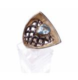 Christian Zilveren ring abstract met topaas geel goud