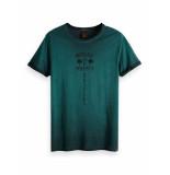 Scotch & Soda Garment-dyed artwork tee with sun-f emerald groen