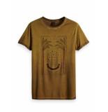 Scotch & Soda Garment-dyed artwork tee with sun-f noix bruin