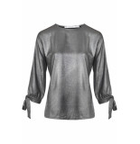 Flore Top ls strik blackmetal zwart