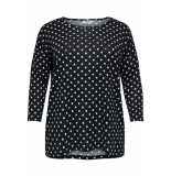 Only Carmakoma Caralba 3/4 top 119 15174819 black/white dots zwart