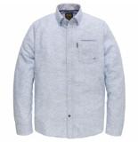 PME Legend Long sleeve shirt melange print office blue blauw