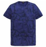 PME Legend Short sleeve r-neck slub jersey ao surf the web blauw