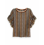 Maison Scotch 149806 17 mixed print top with ruffled sleeve combo a