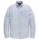 PME Legend Psi191220 547 long sleeve shirt melange print freya office blue blauw