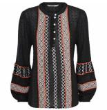 Summum 2s2203-10864 990 blouse embroidered black zwart
