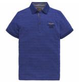 PME Legend Short sleeve polo jacquard jersey surf the web blauw