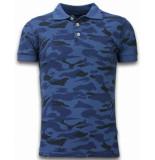 Bread & Buttons Camo polo shirt blauw