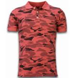 Bread & Buttons Camo polo shirt rood