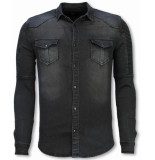 Diele & Co Biker denim shirt grijs