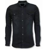 Diele & Co Biker denim shirt zwart