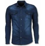 Diele & Co Biker denim shirt blauw