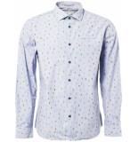 No Excess Shirt, l/sl, allover digital printe indigo blue blauw