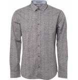 No Excess Shirt, l/sl, allover digital printe dk army blauw