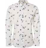 No Excess Shirt, l/sl, bttn down,ao printed f white ecru