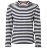 No Excess Sweater, r-neck, yarn dyed stripe+n indigo blue blauw