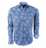 Ferlucci Heren overhemd met trendy design milano stretch blauw