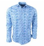Ferlucci Heren overhemd met trendy design calabria stretch blauw
