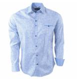 Ferlucci Heren overhemd geblokt milano stretch wit