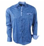 Ferlucci Heren overhemd geblokt milano stretch blauw